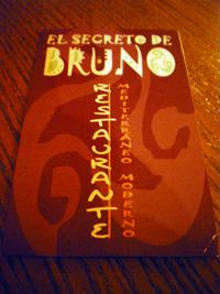 Carta del restaurante El Secreto de Bruno