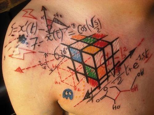 Tatuaje fórmula cubo Rubik