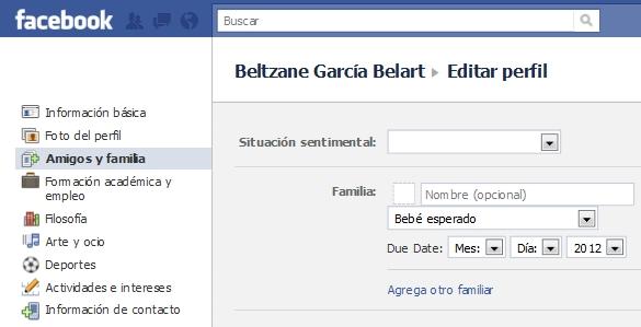 """Facebook: nuevo estatus """"bebé esperado"""""""
