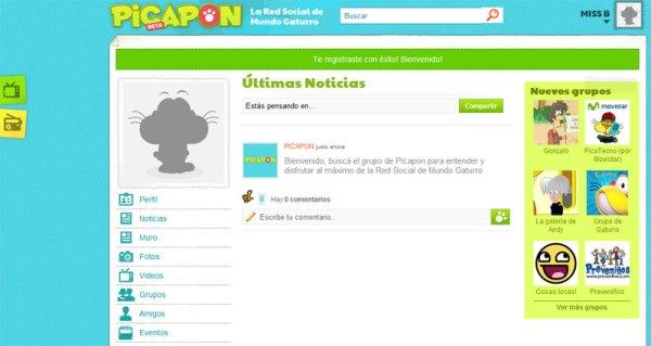 Pantalla de bienvenida en Picapón