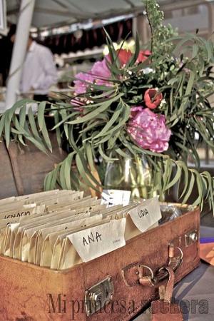 Maletín con los sobres y  las identificaciones de cada bloguera